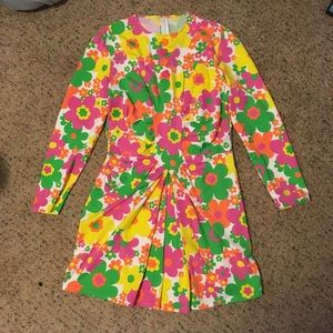 Dresses & Skirts - Retro neon floral ruched long sleeve mini dress